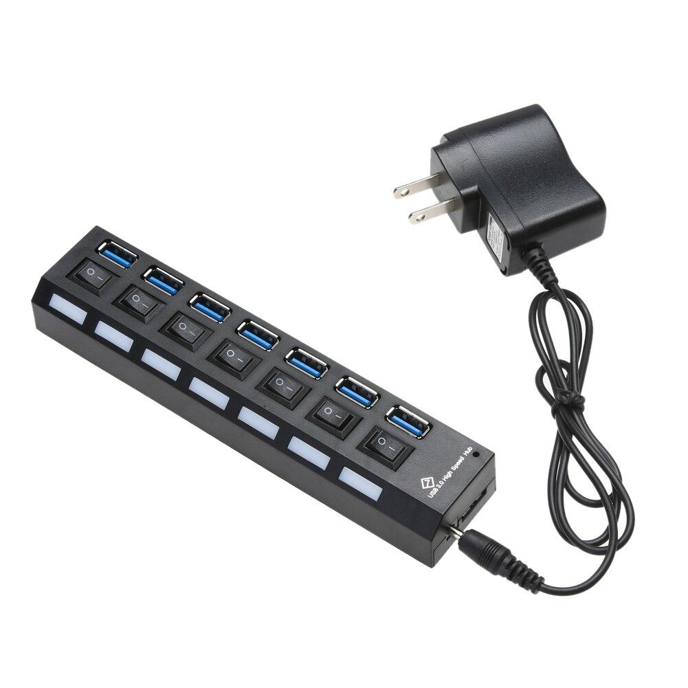 US/Eu-stecker USB 3.0 HUB 7 Ports 5 Gbps High Speed Splitter mit Unabhängige Ein-aus-schalter Led-anzeige für Laptop Notebook