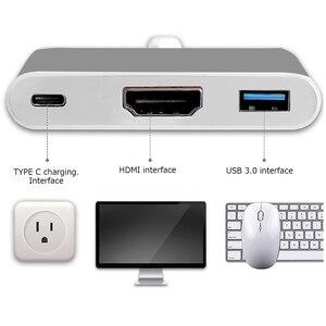 "Image 5 - TUTUO USB 3.1 סוג C ל HDMI מתאם USB HUB 3.0 4 K כבל USB C פ""ד מהיר טעינת נמל עבור MacBook החדש 12 ""/Chromebook Pixe וכו ."