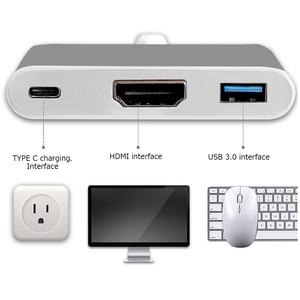 """Image 5 - Tutuo usb 3.1 نوع c إلى hdmi محول 4 كيلو usb 3.0 hub منفذ كابل USB C pd شحن سريع ل جديد ماك بوك 12 """"/chromebook عنصورة الخ"""