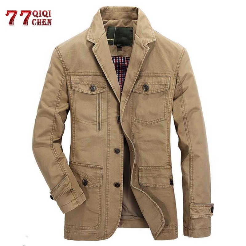 Ilkbahar sonbahar askeri Blazer ceket erkekler rahat pamuk yıkanmış mont ordu bombacı takım elbise ceketler Denim kargo siper artı boyutu 5XL