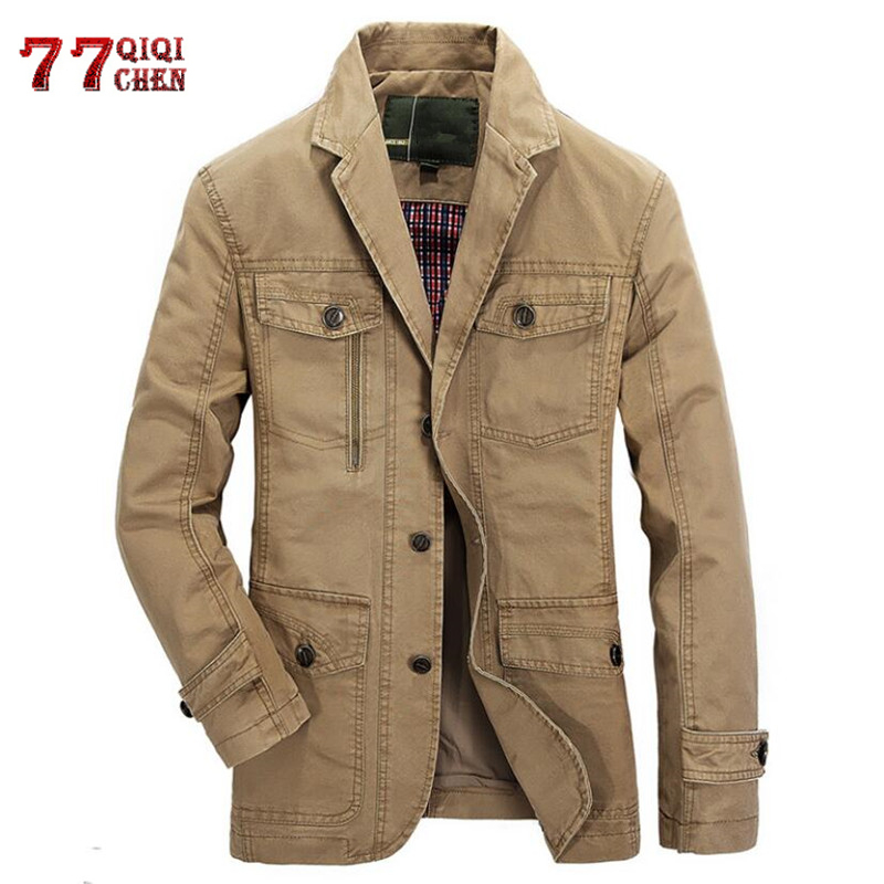 Spring Autumn Military Blazer Jacket Men Casual Cotton Washed Coats Army Bomber Suit Jackets Denim Cargo Trench Plus Size 5XL