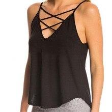 Fashion Women Summer Camis Vest Top Sleeveless Shirts Blusas Casual Tank Tops Spaghetti Strap Cross V neck Shirts Knitting Tees