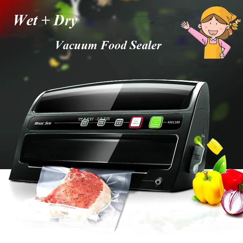 1pc Automatic Dry/ Wet Vacuum Food Sealer Household Food Preservation, Multi-function Vacuum Film Sealing Machine MS1160 household vacuum packaging sealing machine sealer wet and dry use 30cm 110w 220v
