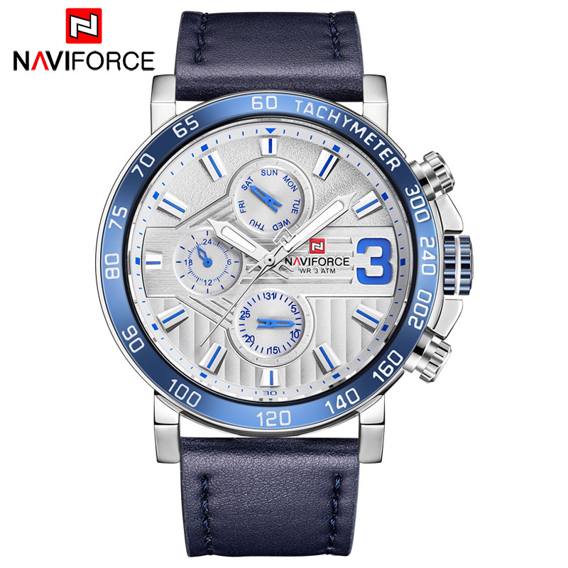 NAVIFORCE 2018 Men Watches Luxury Sports Quartz Watch Japan Movement Auto Date Week Display Leather Band Relogio Masculino