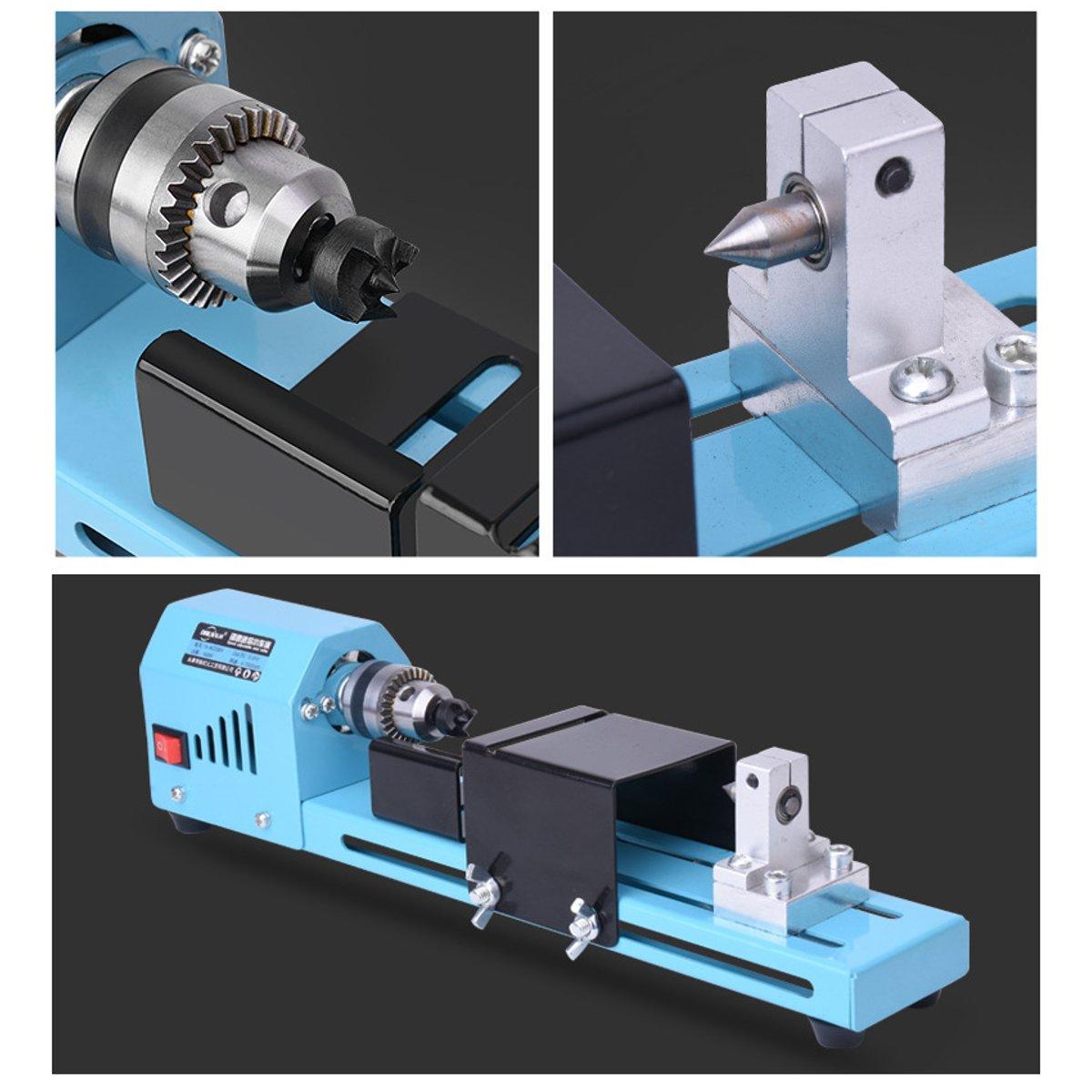 150W Mini tour Machine outil bricolage travail du bois tour fraiseuse meulage perles de polissage perceuse outil rotatif - 5