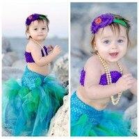 Baby Girls Halloween Tutu Dress The Little Mermaid Ariels Cosplay Cartoon Princess Girls Ball Gown Tulle