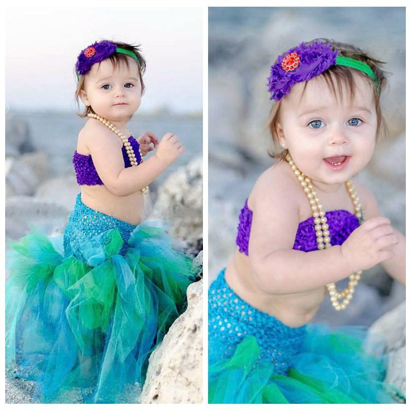 Baby Girls Halloween Tutu Dress The Little Mermaid Ariel Cosplay Cartoon Princess Girls Ball Gown Tulle Dresses Costume