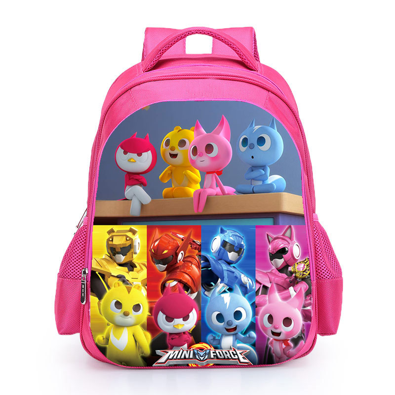 KWD Miniforce lucky Max School Bag Kids Carton Hero SchoolBag Kids Book Bags Pupil Backpacks for Boys Girls Pink Black Mochila 2