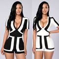 2016 New Sexy Women Summer Black White Block Color Bodycon Playsuit  Celebrity  Bandage Bodycon Short Jumpsuit Romper