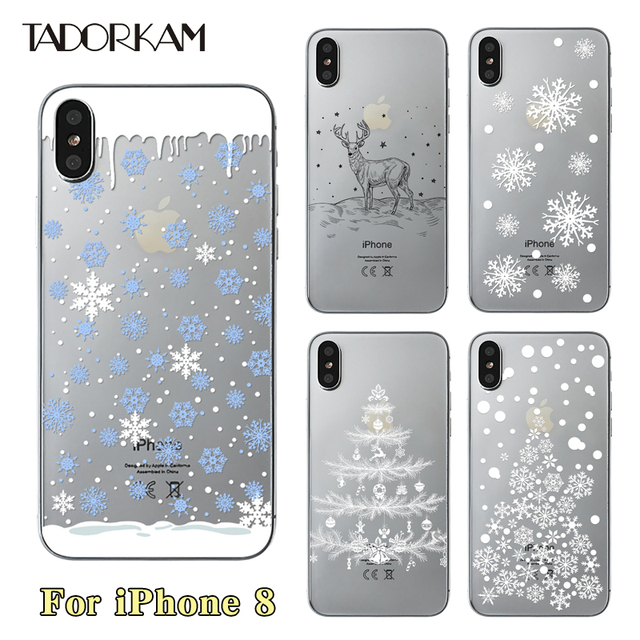 cheap for discount bad4f 5bd19 US $1.15 |Christmas phone cases For iphone 8 Soft Ultra thin TPU Beautiful  Winter Snowflake Silicon Transparent Phone Back case-in Fitted Cases from  ...