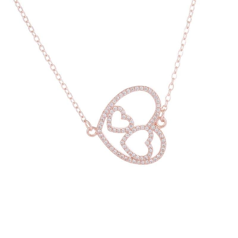 Aliexpress.com : Buy Zirkonia DoppelHerzAnhanger Valentinstag Geschenk Der  Liebe Romantische Liebe Klassische Halskette Frau Modelle From Reliable  Halskette ...