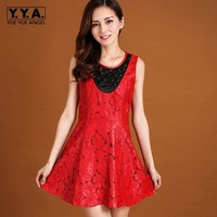 Elegant Lady Crystal Genuine Leather Pleated Mini Dress For Women 2019 Vintage Embroidery Office Work Party Sleeveless Sundress