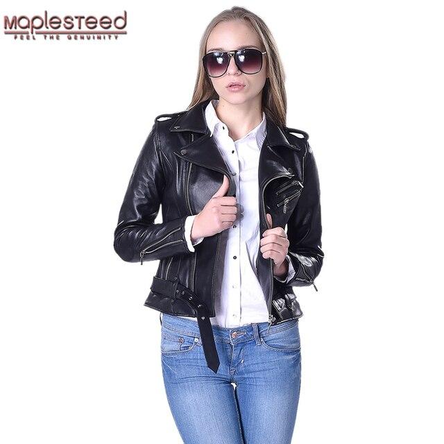 f5d0841f02a Factory Women Leather Jacket Belt Genuine Sheepskin Goatskin Black Slim Bomber  Motorcycle Biker Women's Leather Coat Autumn F039