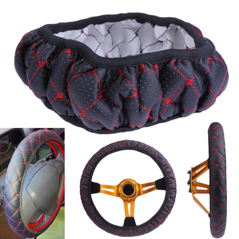 Black Red Car Steering Wheel Covers Elastic Embroidered Cover for 38cm Diameter Steering Wheel Car-styling Accessories Promotion