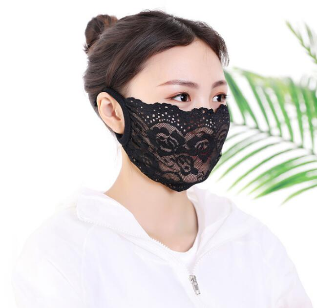 Women's Thin Sunscreen Black Perspective Breathable Masks Lady's  Summer PM 2.5 Sexy Lace Mask R085