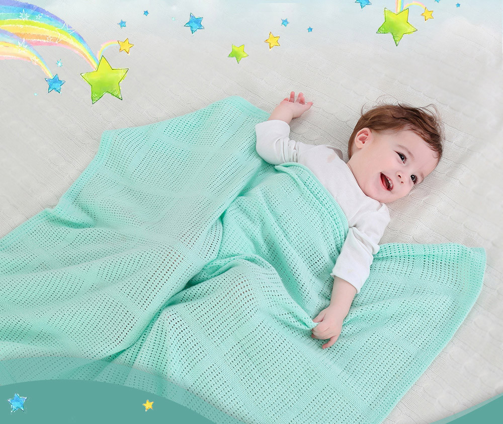 New Fashion Cute New 100% Cotton Baby Cellular Blanket Pram Cot Bed Moses Basket Crib High Quality Drop Shipping