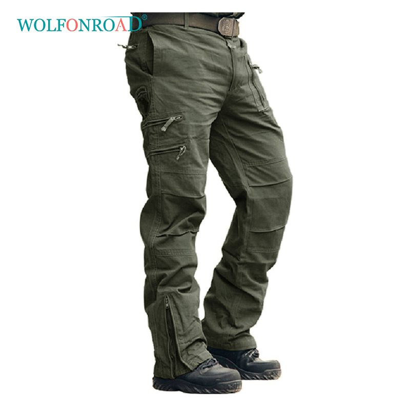 WOLFONROAD Men Cargo Pants US Army Combat Trousers Summer Spring Casual Cotton Pants Military Tactical Clothing Hiking Pants-in Hiking Pants from Sports & Entertainment    1