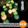 Novedad iluminación Al Aire Libre 6 cm tamaño grande LED lámparas de luz de Bolas de cuerda de Algodón Blanco Interruptor de Luces de Navidad de hadas Decoración de la boda