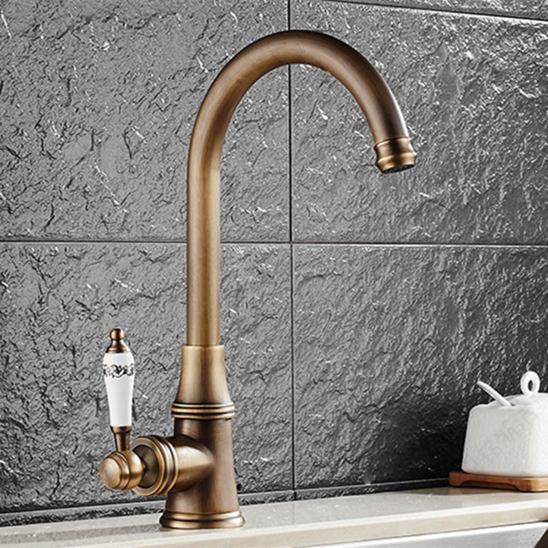 Free shipping Single handle antique kitchen sink faucet with brass kitchen faucet and 360 rotation kitchen