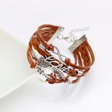 Best selling Mens braceletsleather bracciale para mulher pulseira masculina coruja amor pulseiras bangles presente jóias bela