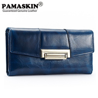 2014 Year 100 Oil Wax Leather Wallet Long Style Wonen Wallets Multifunction Hand Bag Coin Pruse