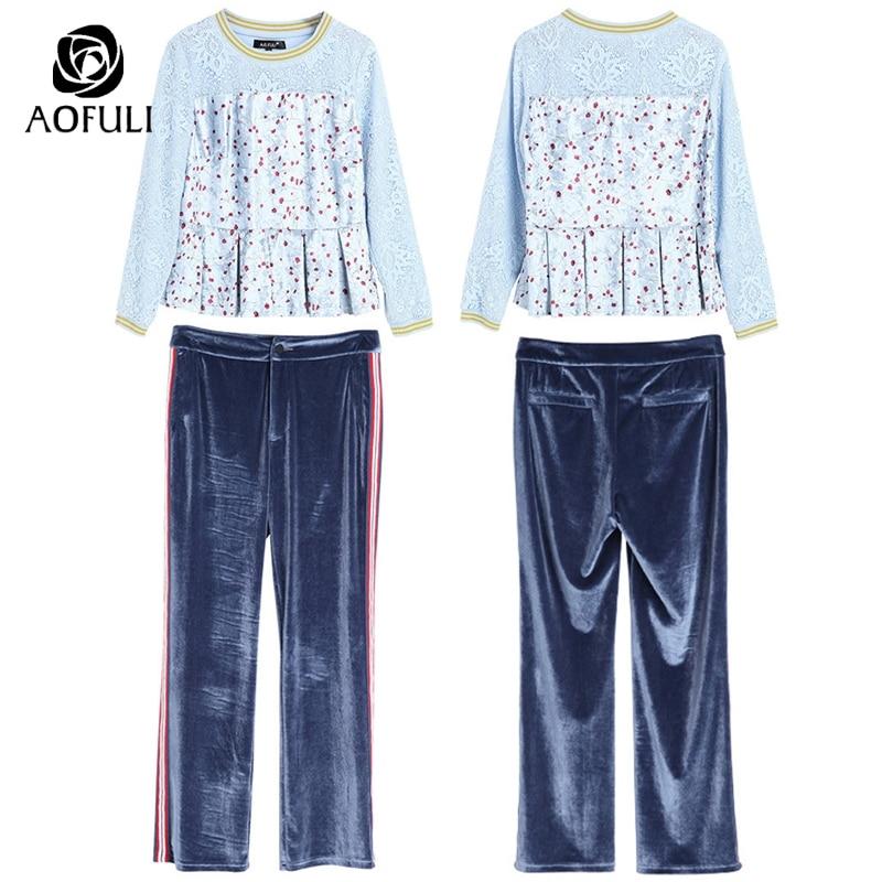 Twinset 5839 À Tenue Automne 5xl Velours Blouse Long Imprimé Costumes Manches Pantalon Creux Jeu Femmes 2017 Dentelle De Bleu S Longues Floral RTqHOq
