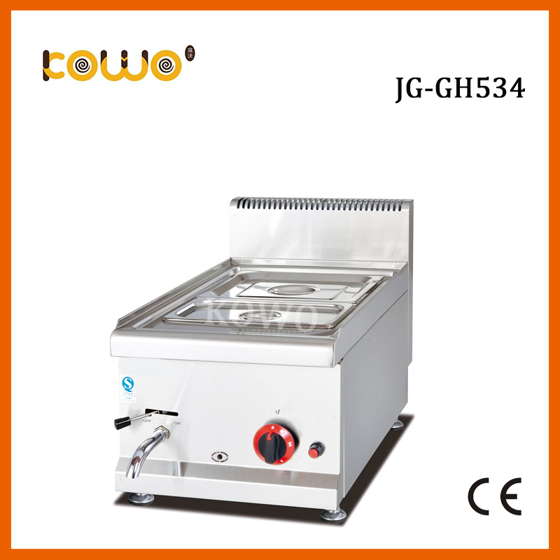 JG-GH534 commercial stainless steel table counter top food warmer machine gas 2 pan bain marie for Restaurant kitchen equipment