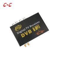 120-150 km/u Auto Mobiele DVB-T2 2 Antennes 2 Mobiliteit Chips DVB T2 auto Digitale Auto TV Tuner HD 1080 P Ontvanger BOX voor Auto DVD