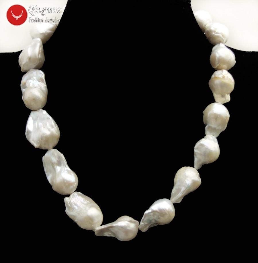 Qingmos collier de perles naturelles blanches à la mode pour les femmes avec 17*30mm Baroque nucléaire perle Chokers collier bijoux 17