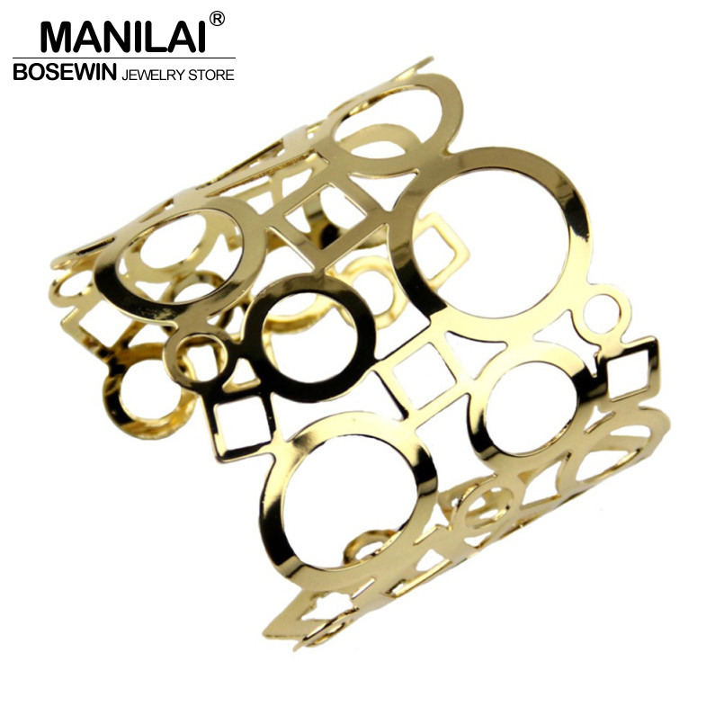 MANILAI Fashion Shiny Faceted Hollow Geometric Bracelets Women Unique Wide Metal Cuff Bangle Statement Jewelry BL150