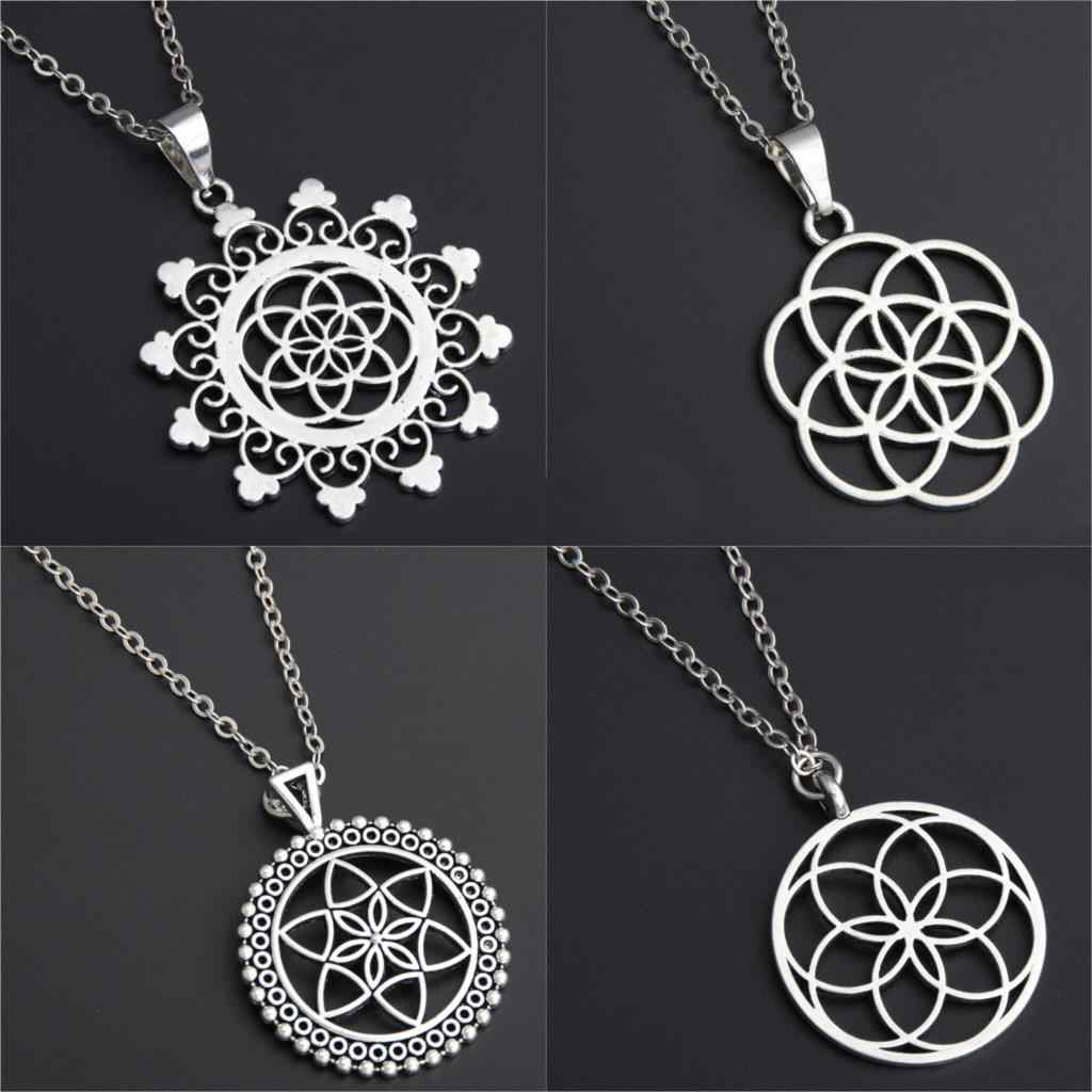1pc Seed And Flower Of Life Yoga Jewelry Sacred Geometry Boho Jewelry Mandala Deer Pendant Necklace