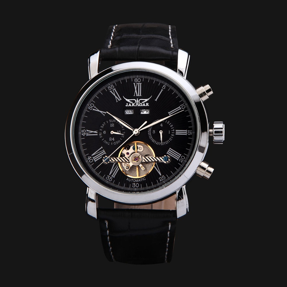 Jaragar Luxury Mechanical Automatic Watch Leather Strap Date&day Flywheel Tourbillon Mens Wristwatch Relogio Gift Box рубашки page 2
