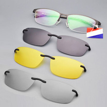 Half Frame Pure Titanium Glasses Man with Polarized Magnet Set Sunglasses Night Vision