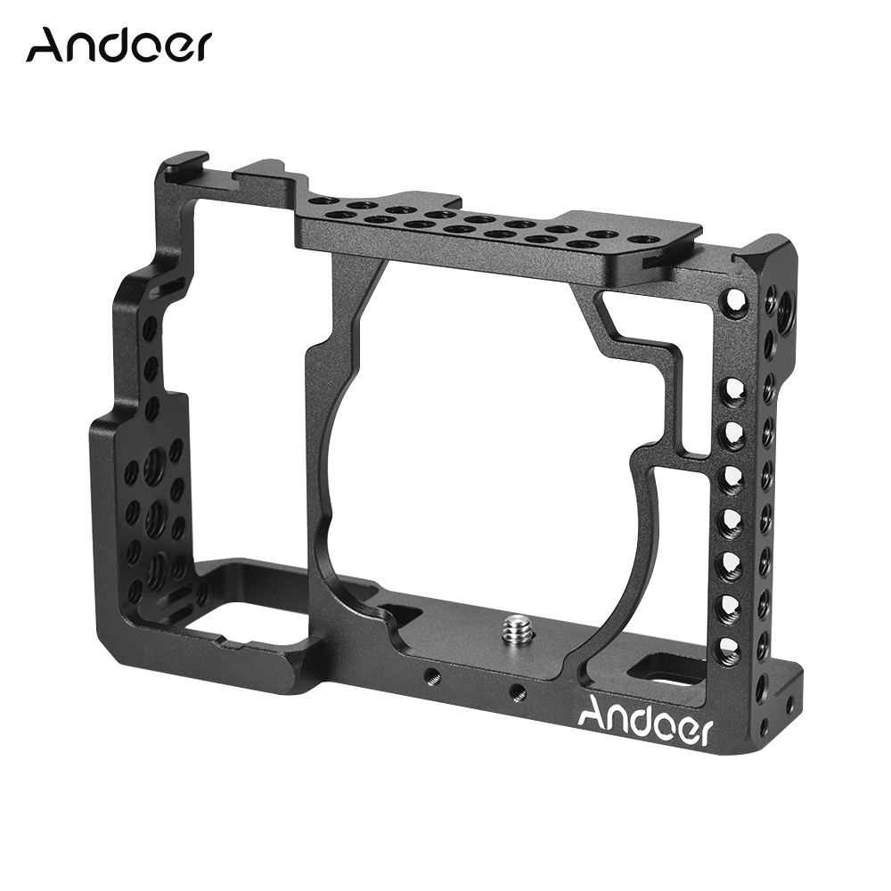 Andoer Aluminum Alloy Camera Cage Video Film Movie Making Stabilizer with Cold Shoe Mount for Sony