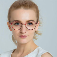 Cubojue Round Reading Glasses Women Anti Blue Light +0.75 1.0 1.25 1.75 2.25 2.75 3.5 2.0 1.5 Presbyopia Red Black Female Ladies
