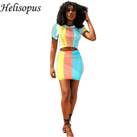 2019 Summer Women's Set Rainbow Striped Printed Sexy Dress Short Sleeve Crop Tops + Fishnet Skirts Mesh Fashion 2 Piece Clothing
