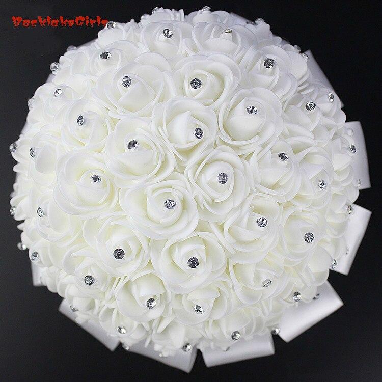 2018 Bridal Wedding Bouquet Con Perla In Rilievo Romantico Sposa S 'bouquet Ramo Boda Fiori Sposa White Satin Aspetto Bello