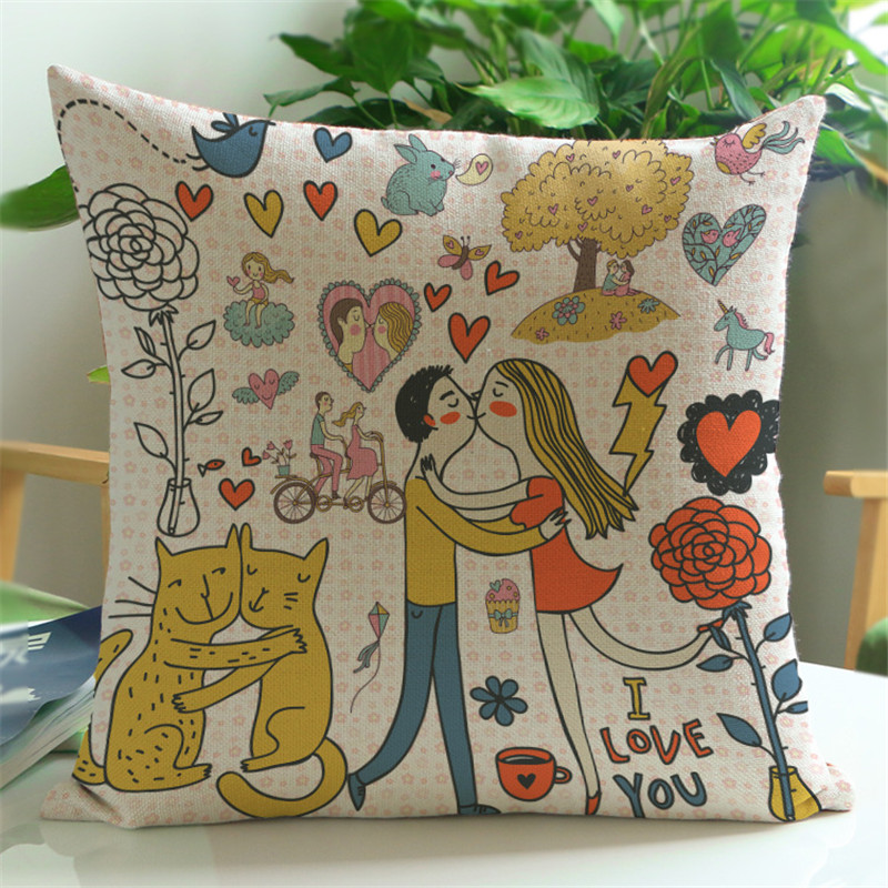 Love cartoon happy pattern Sofa chair shop chair beige Cushion Cover house home party wedding Decorations Pillow Cases for gifts