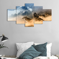Wolf Painting on Canvas 5 Piece Modern Landscape, Posters and Prints Wolves Pictures Wall Art for Living Room Drop shipping