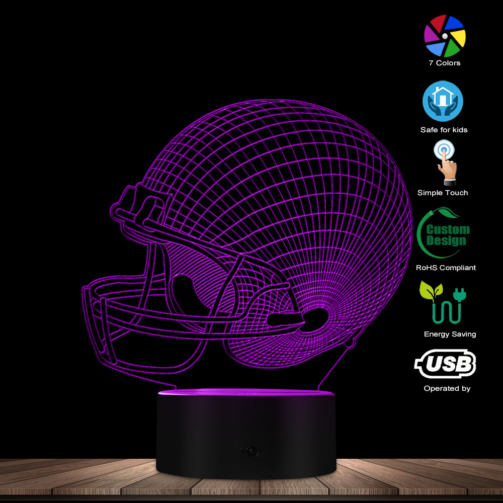 3D Desk Night Light Home Decor Table Lamp Color Changing LED Table Light Rugby Cap Decorative LED Light For Sports Enthusiast