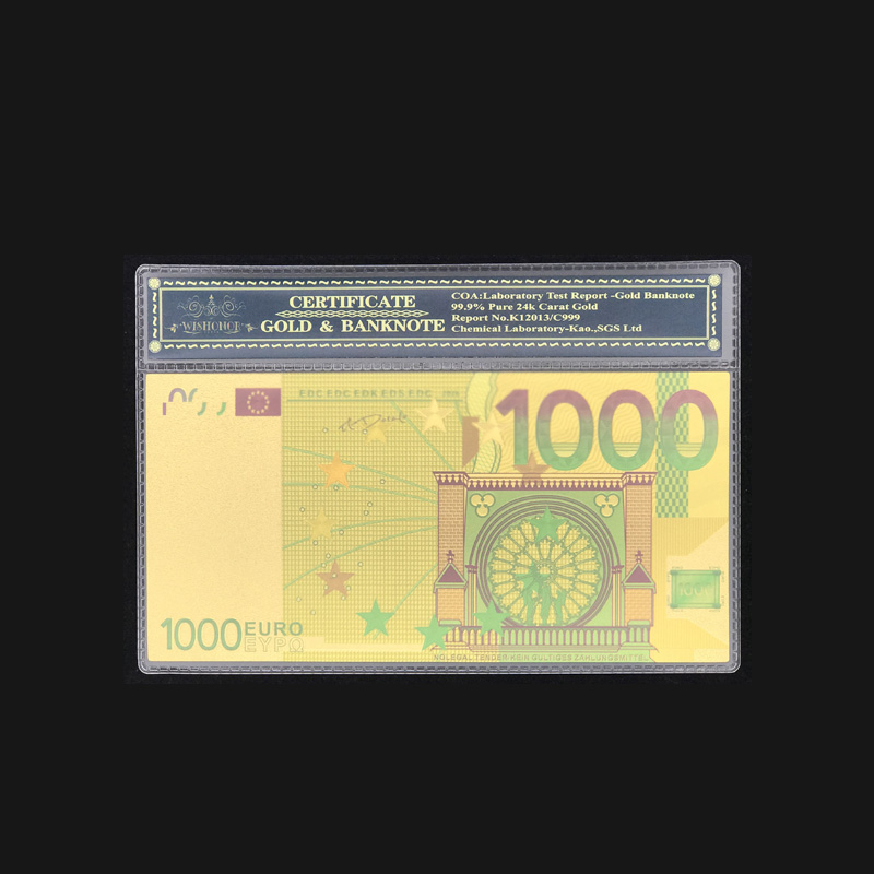 Wishonor Colored <font><b>Euro</b></font> Gold <font><b>Banknote</b></font> <font><b>1000</b></font> <font><b>Euro</b></font> <font><b>Banknotes</b></font> With COA Frame in 24 Gold Plated Fake Money For Collection And Gifts image