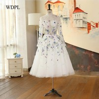 Vintage Evening Dresses Butterfly Robe De Soiree White Mid Evening Gowns Long Sleeves Evening Dress Flowers Abendkleider