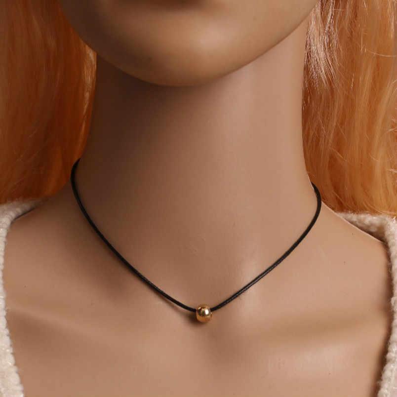 Das mulheres novas populares jóias colar de contas de transferência simples de couro preto puro acessórios jóias da moda Chinesa
