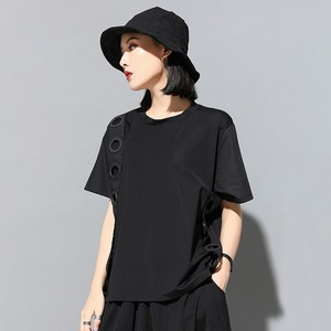 Image 2 - CHICEVER Summer Streetwear Balck Solid Patchwork Ring Hollow Out Women T shirt O Neck Short Sleeve Loose Slim Female Tops 2020