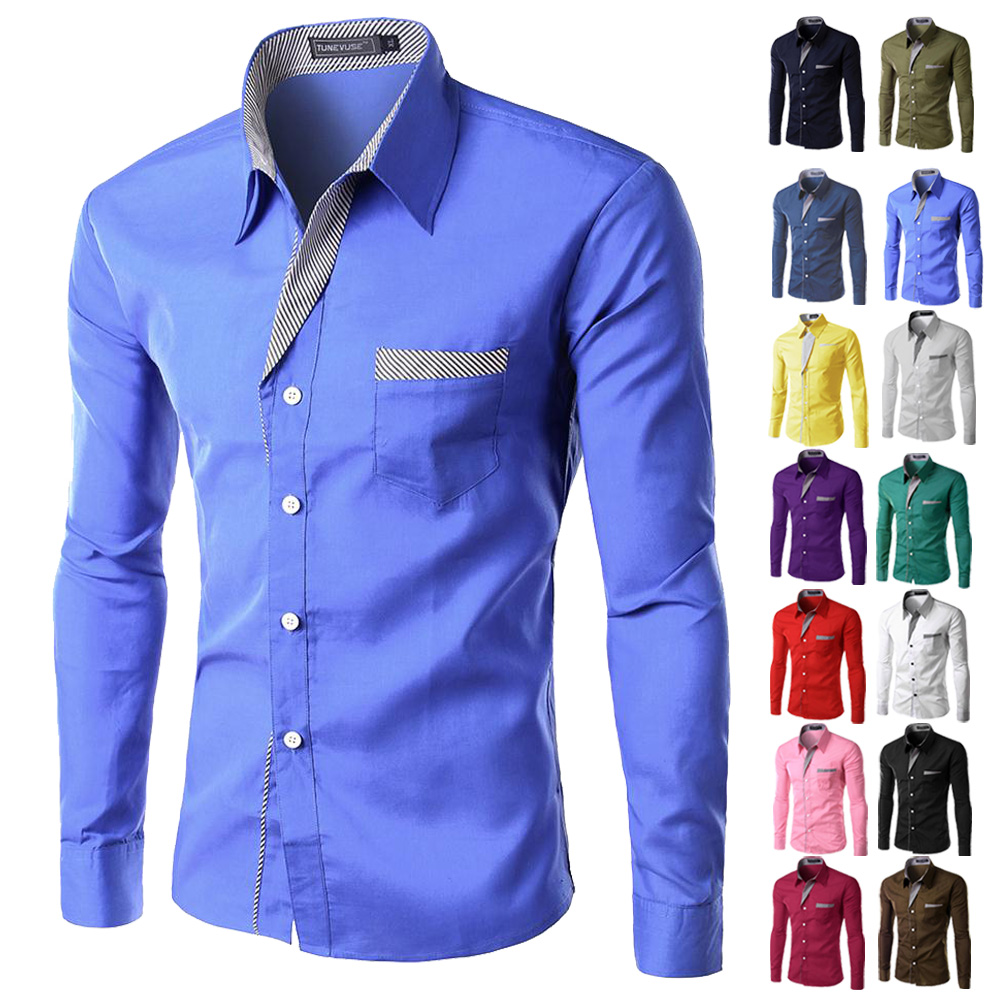 Online Shop Brand New Mens Formal Business Shirts Casual Slim Long