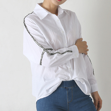 Для женщин Топы корректирующие Осень Новые однотонные Цвет Для женщин офисные Рубашки для мальчиков дамы OL основные крючком Блузка с длинными рукавами рубашка в Корейском стиле