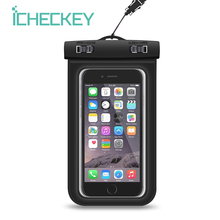 ICHECKEY Waterproof Cell Phone Case Universal Underwater Mobile Phone Dry Bag Pouch With Adjustable Lanyard For Smartphone