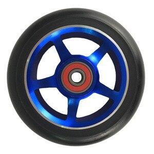Image 2 - Rodas de patinete para scooter de 100mm, roda de cadeira de rodas de liga de alumínio, hub em 2 peças 88a, alta elasticidade, velocidade de precisão
