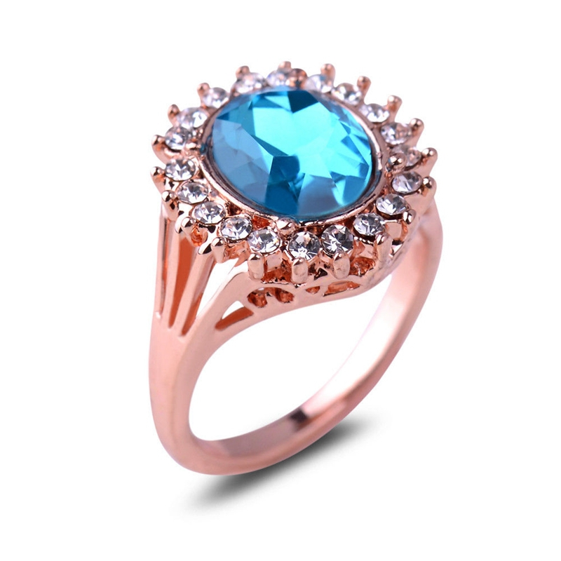 High Quality Rose Gold Plated Sapphire CZ Rhinestone Ring For Women Girls A07