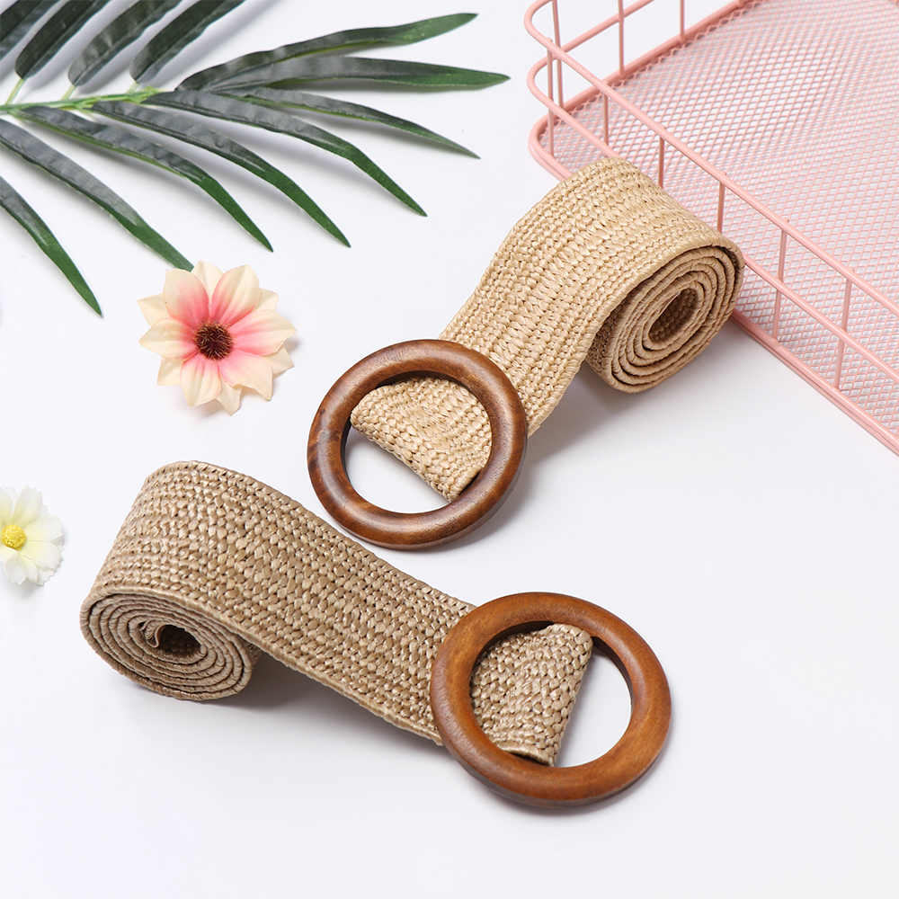 Fashion Design   Round Jade  Buckle Dress Belt For Women Casual Braided Wide Strap  Woven Elastic PP Straw Belts Decoration Gift